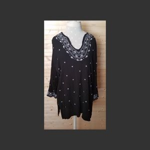 Black Embroidered Tunic Top